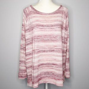 Sonoma Pink Striped Soft Knit Long Sleeve Top
